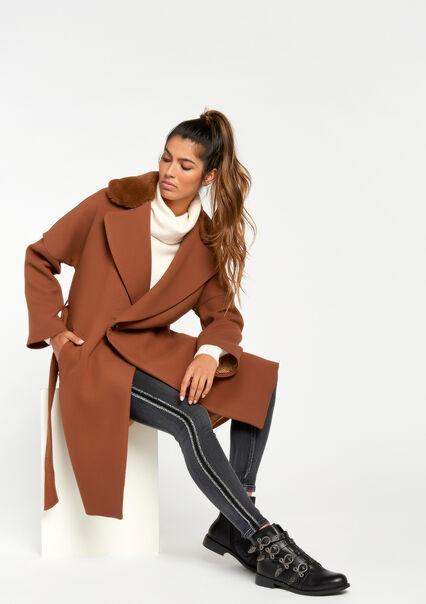 Long coat with fur & tie-belt - CARAMEL - 23000027_1953