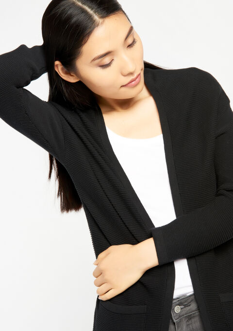 """Long cardigan Ottoman style Cotton"" - BLACK - 919437"