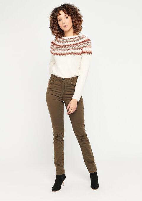 Slim fit broek met hoge taille - KHAKI ARMY - 06003891_4314
