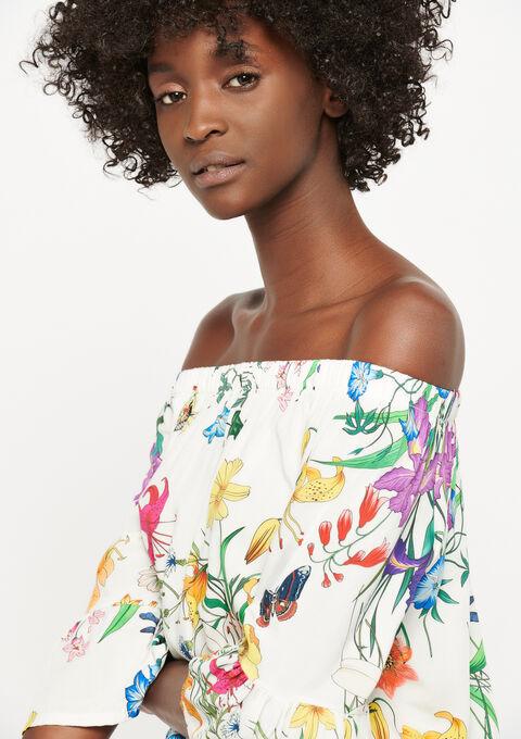 Carmen blouse met bloemenprint - WHITE ALYSSUM - 05700511_2502