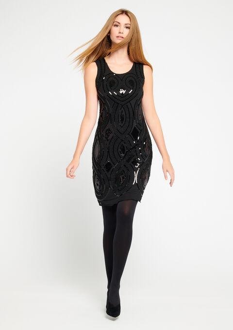 Rechte jurk met lovertjes, zonder mouwen - BLACK - 08100143_1119