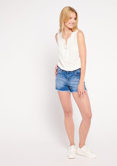 Short en jeans, bandes latérales - MEDIUM BLUE - 22000141_500