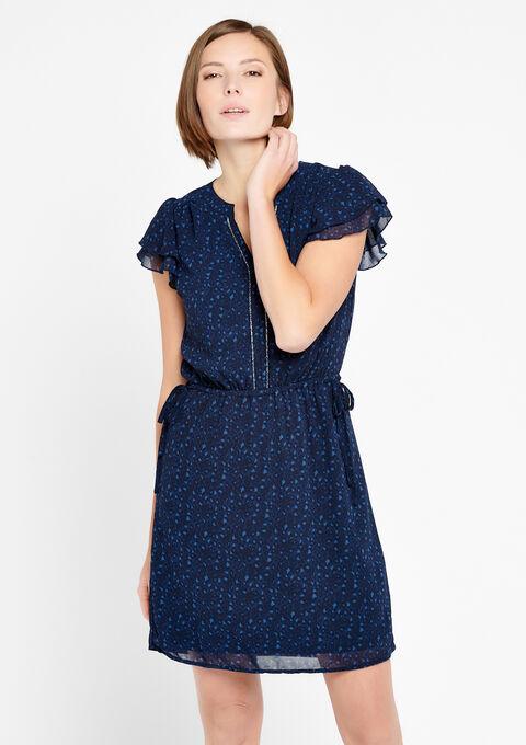 Korte jurk met v-hals - BLACK IRIS - 918648