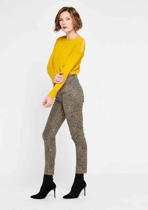 Broek met luipaardprint - BEIGE OAK - 06003858_4008