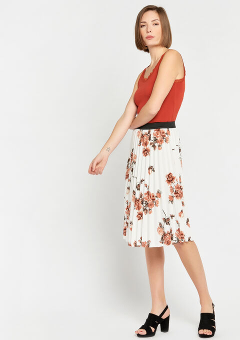 Plissérok met bloemenprint - OFFWHITE - 07100231_1001