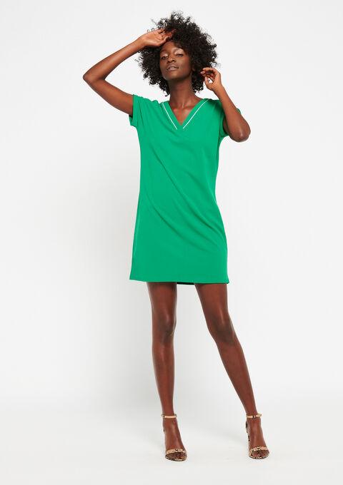 Rechte jurk met v-hals - GREEN GARDEN - 951199