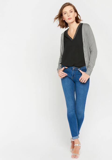 Basic cardigan - GREY TORNADO MEL - 04100624_3501