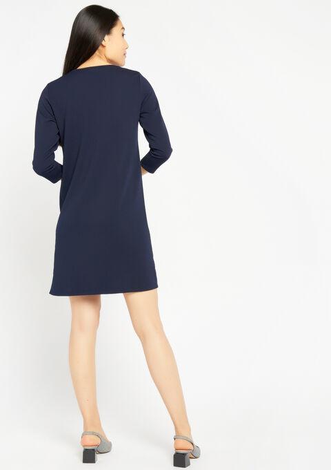 Rechte jurk met v-hals en bies - NAVY MILD - 08100563_2712