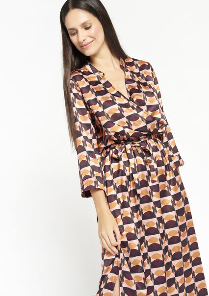 Satijnen maxi jurk met retro print - MULTICOLOR - 08601453_1000