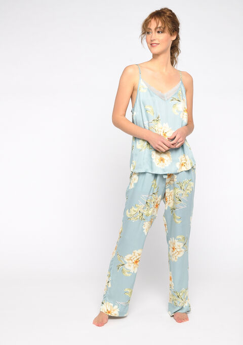 Tanktop nachtkleding bloemenprint - GRAY MIST - 15100026_1580