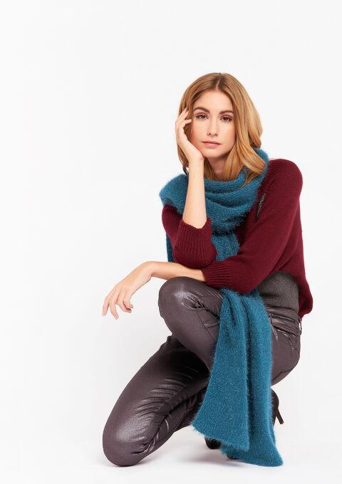 Harige gebreide sjaal - PETROL  GREEN - 977115