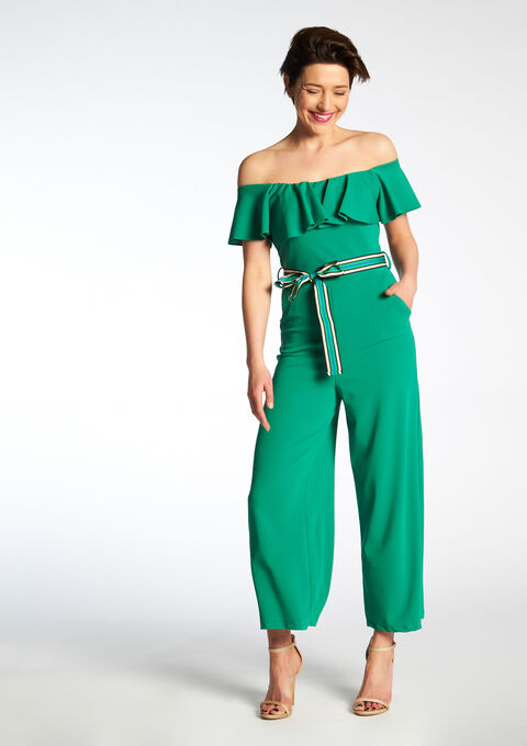 79866ed90b3f Off-shoulder jumpsuit - SIMPLY GREEN - 06003592 4605