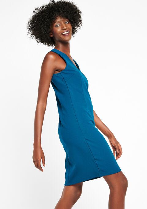 Korte jurk met kant zonder mouwen - GREEN TEAL - 08100140_4503
