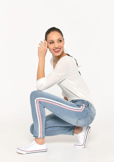 Skinny jeans met fluwelen zijband - BLUE BLEACHED - 22000221_0502