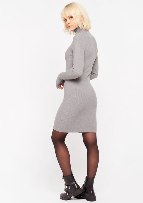 Trui-jurk met col - GREY DARK MEL - 08100671_3407