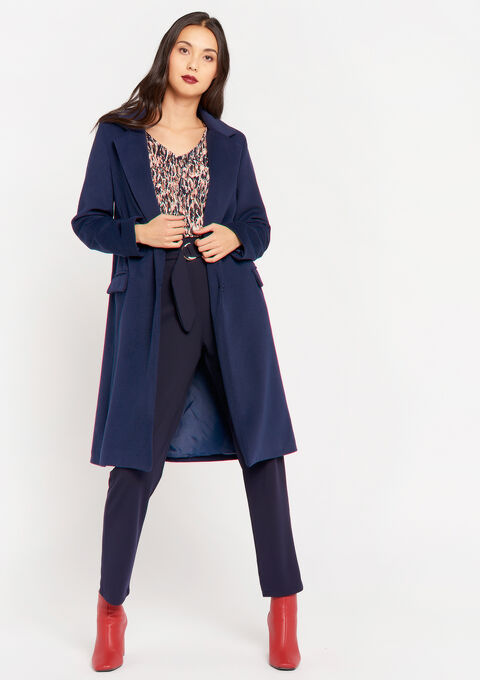 Long coat with buttons and pockets - NAVY BLUE - 23000251_1651