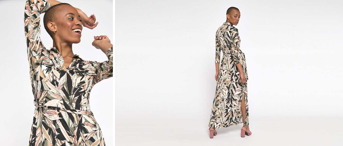 Hemd jurk met tropische print