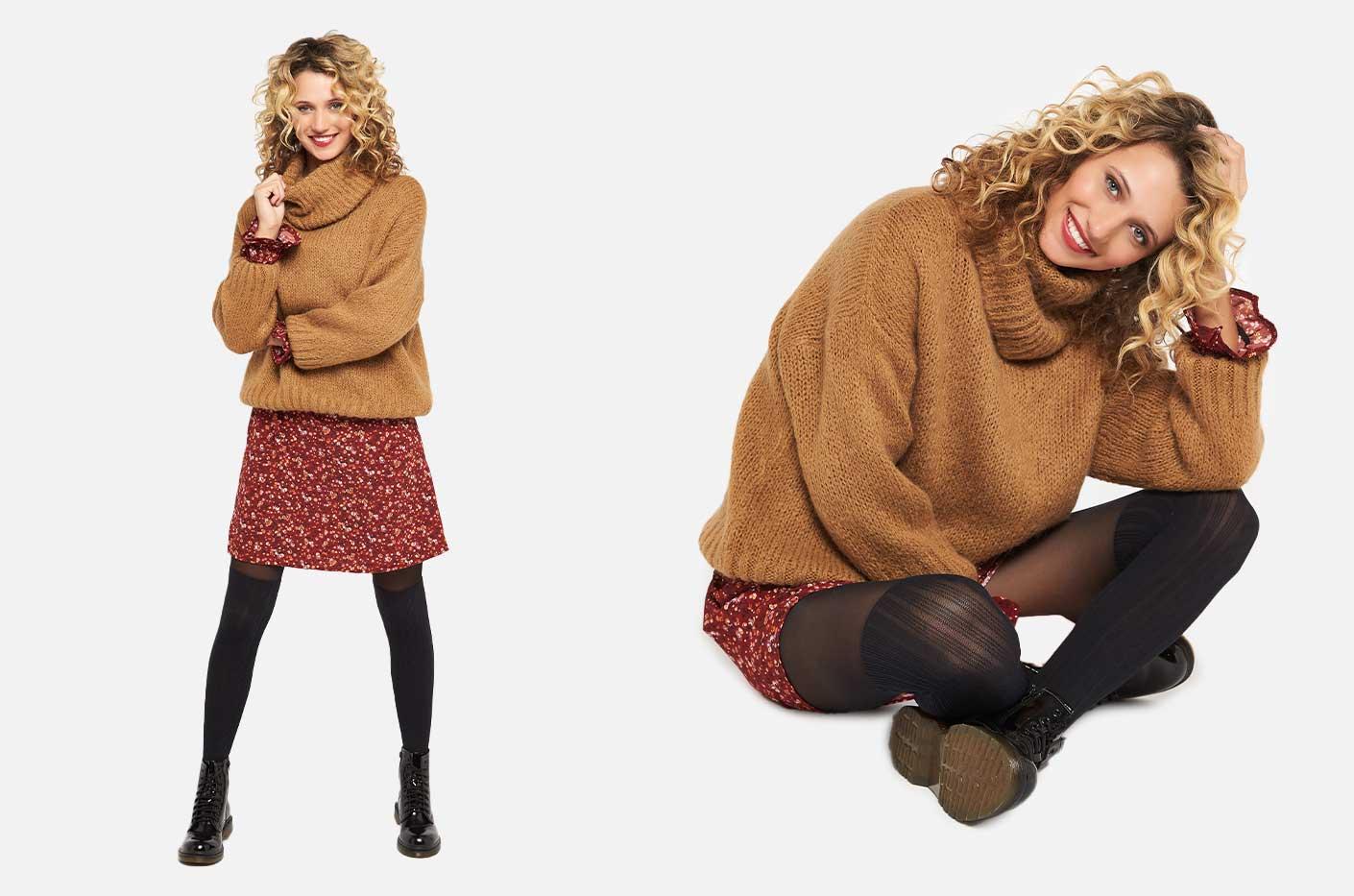 1 jurk met mohair trui en schoenen