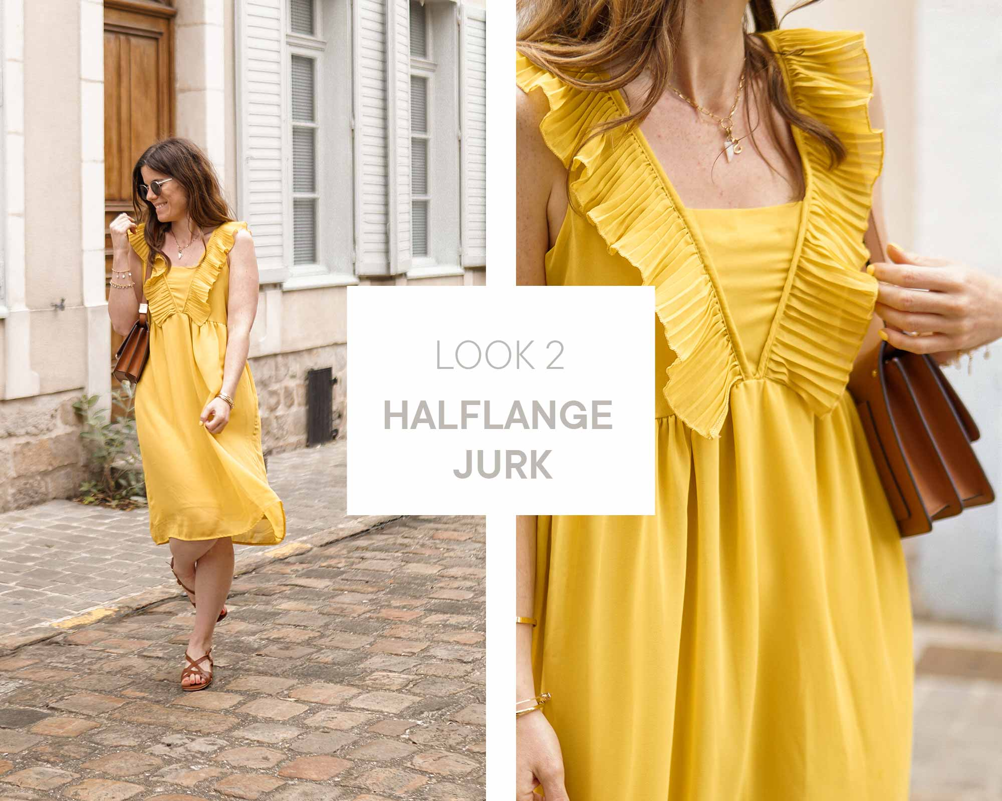 alexia wearing a yellow mini dress with brown sandals and brown handbag