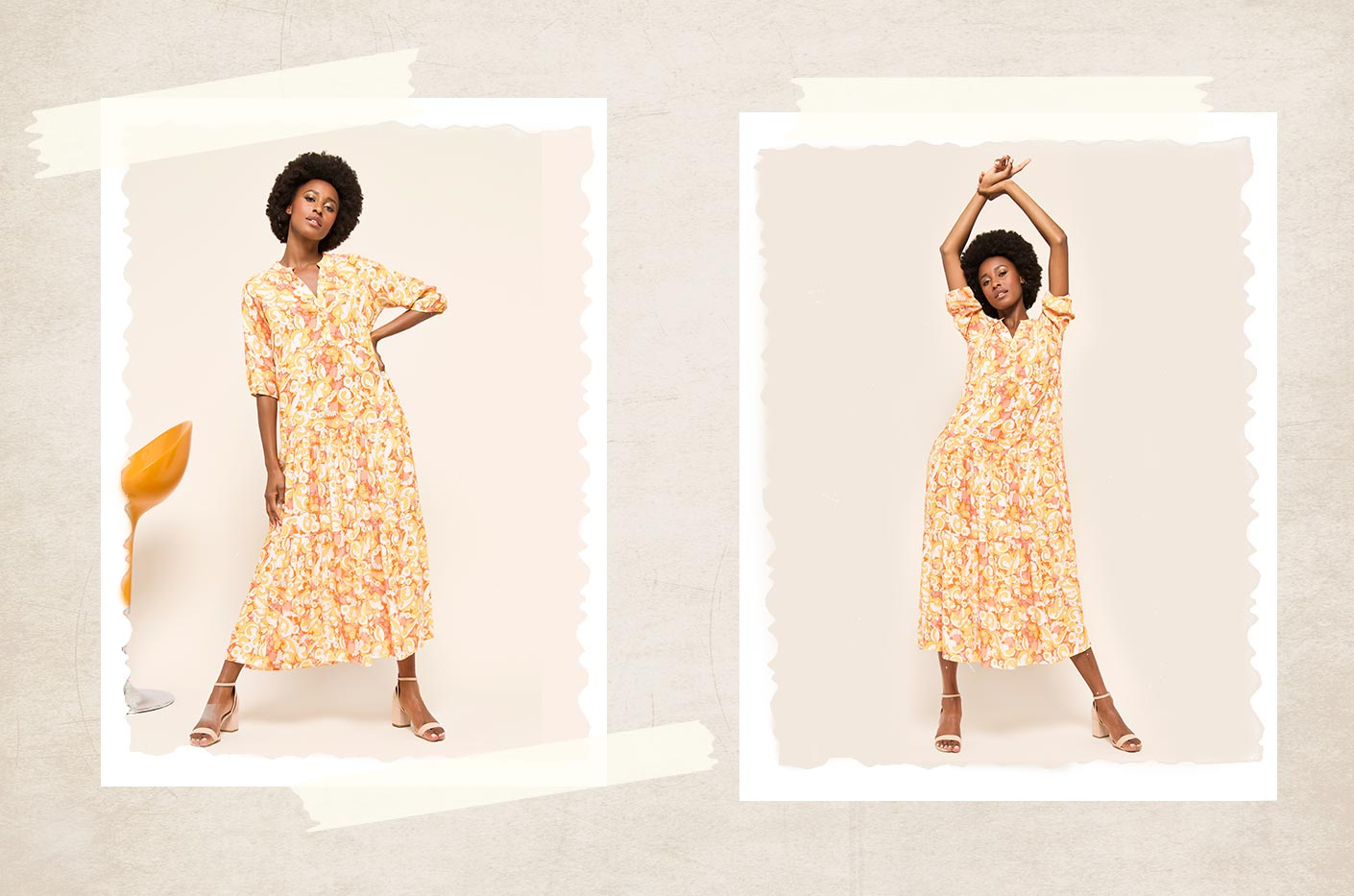 Long maxi dress in yellow and orange retro print with three quarter length sleeves.