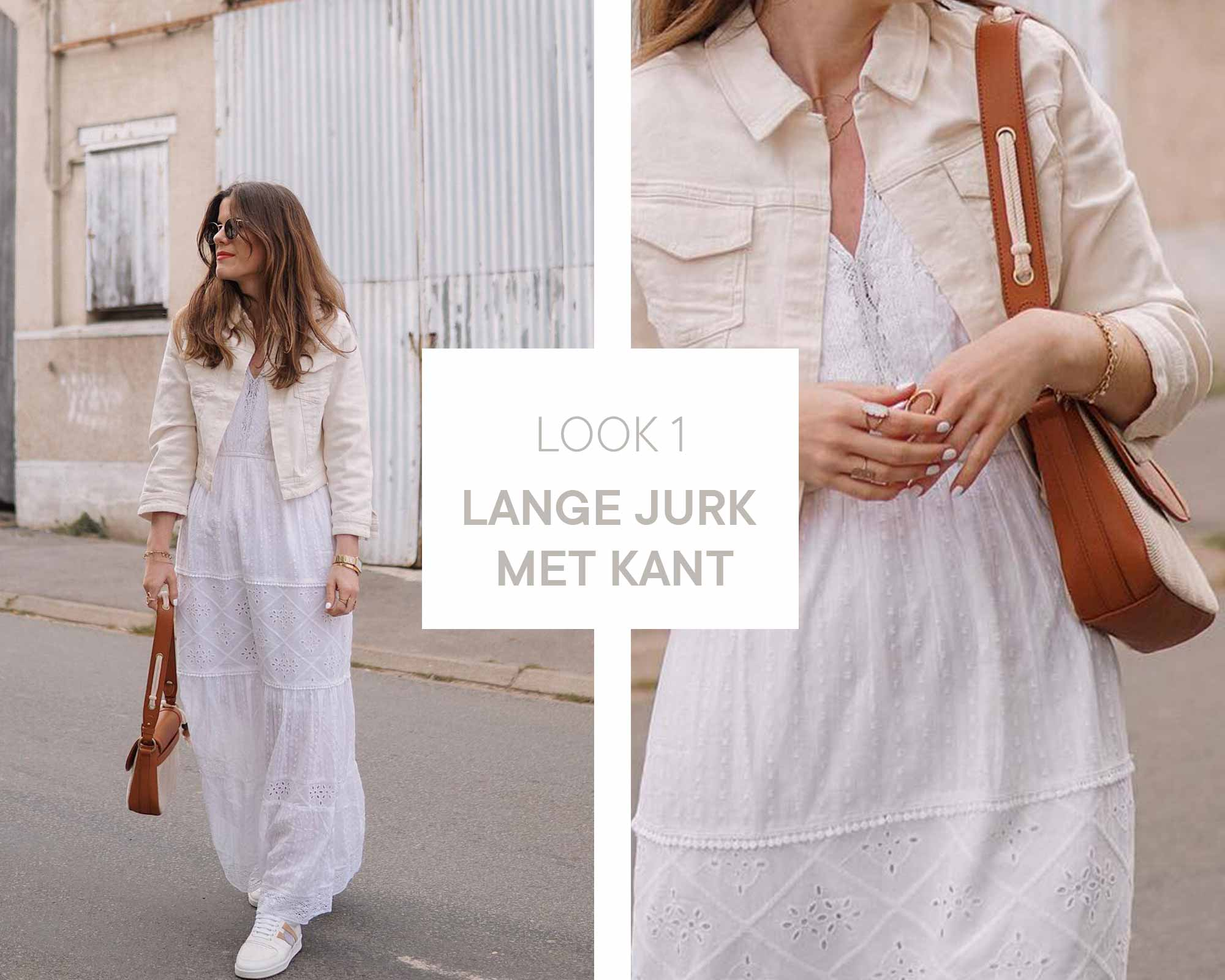 Alexia wearing a long white dress with cream white jacket and white shoes. Wearing a brown shoulder bag and retro sunglasses.