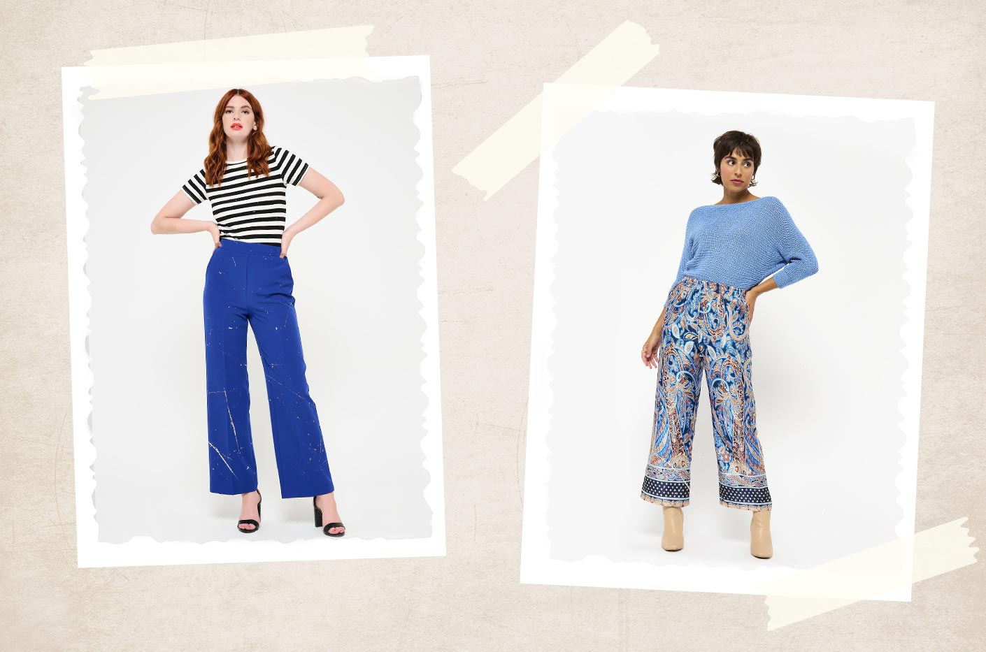 Blue wide-leg pants with retro print styled with a blue long sleeved cardigan and nude boots. Plain blue wide-leg pants styled with a striped t-shirt and black high heels.