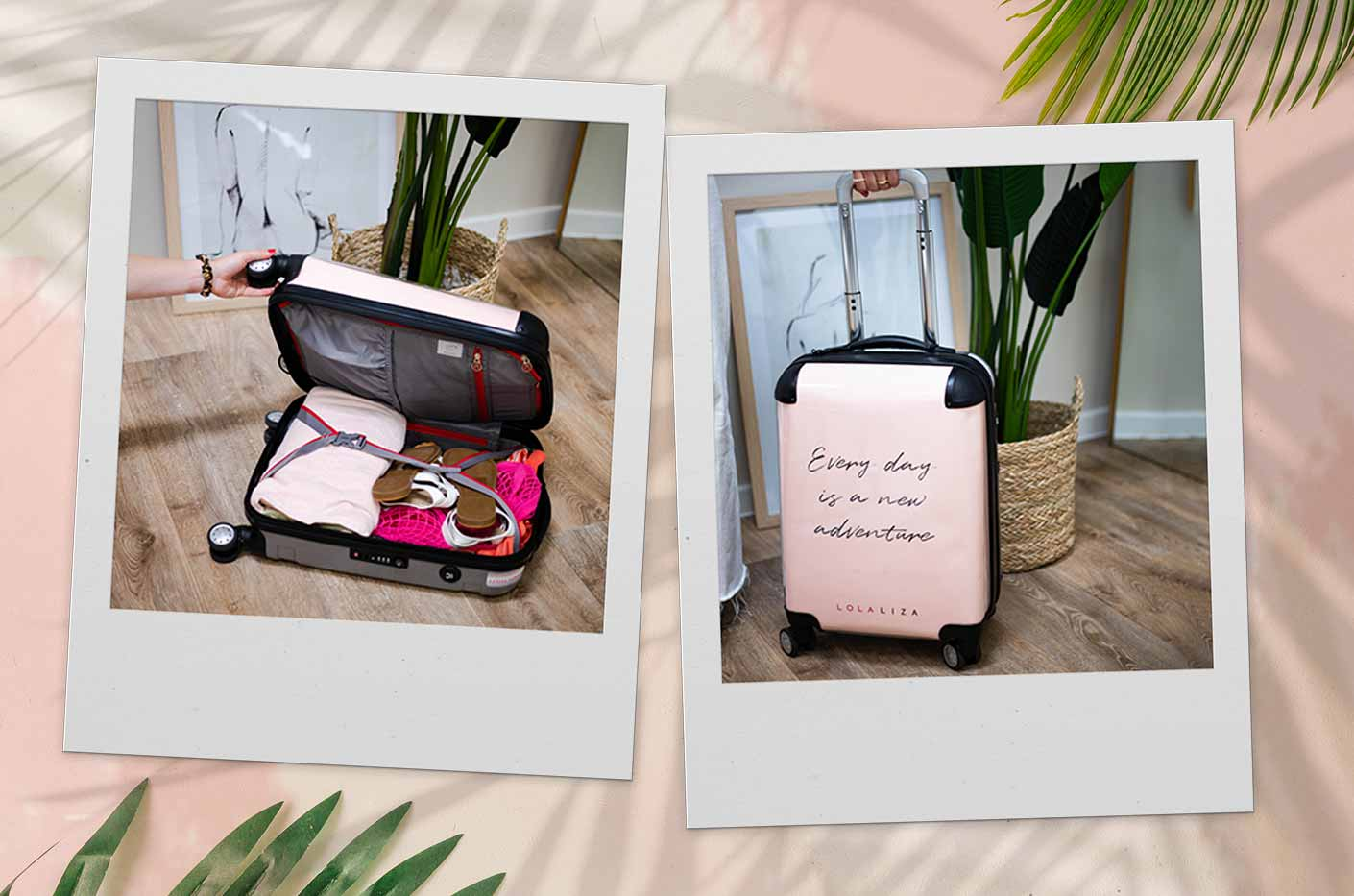 Suitcase is packed with LolaLiza items. Ready to go on vacation.