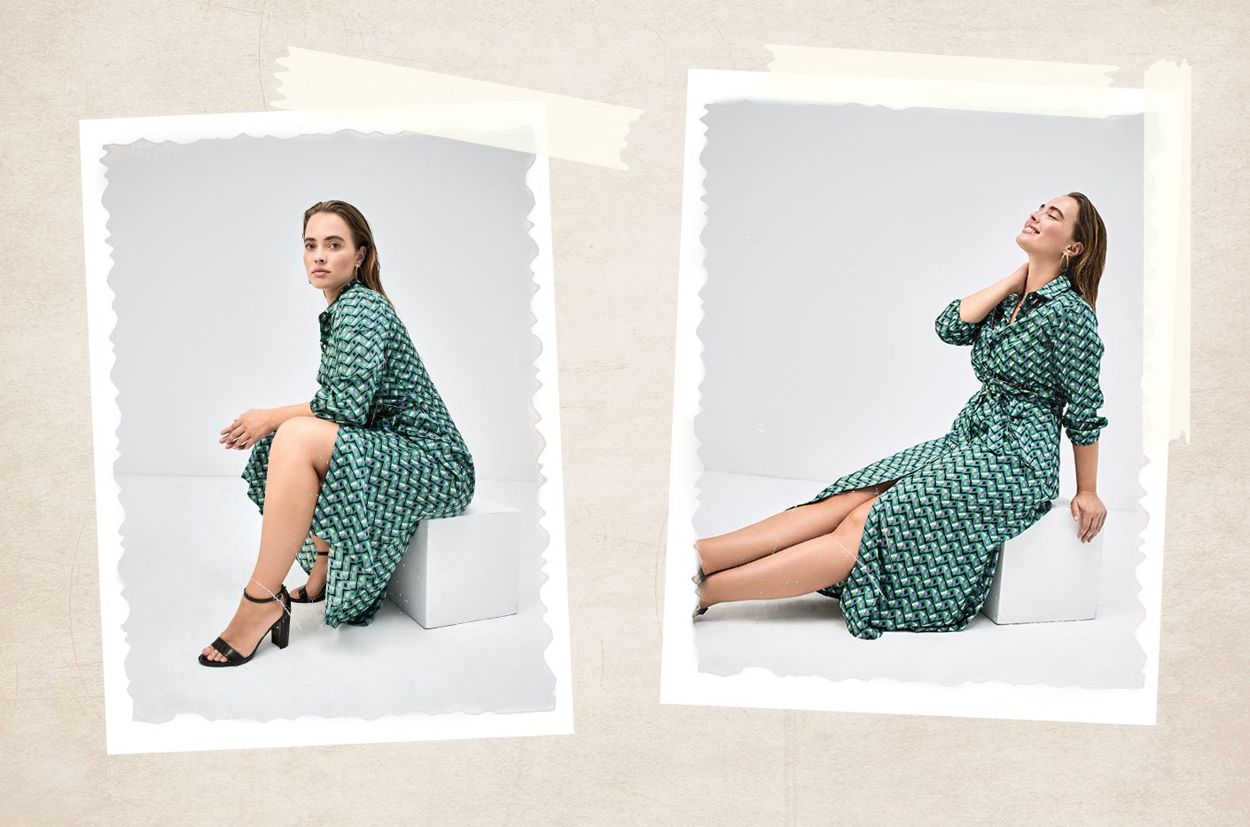 Midi green dress with belt in retro print styled with black heels.