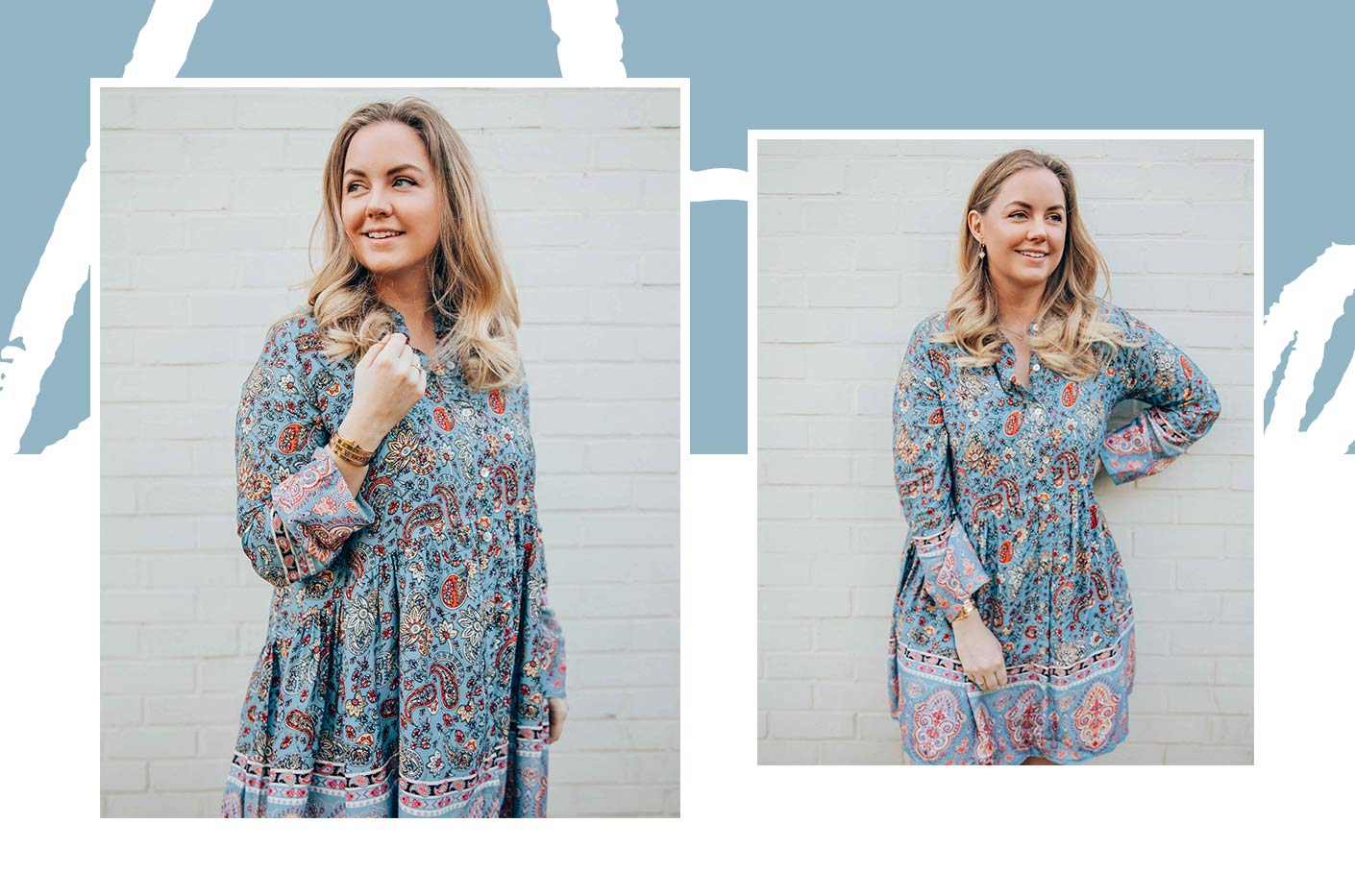 The smiling Axelle wearing a baby-doll dress with colourful print.