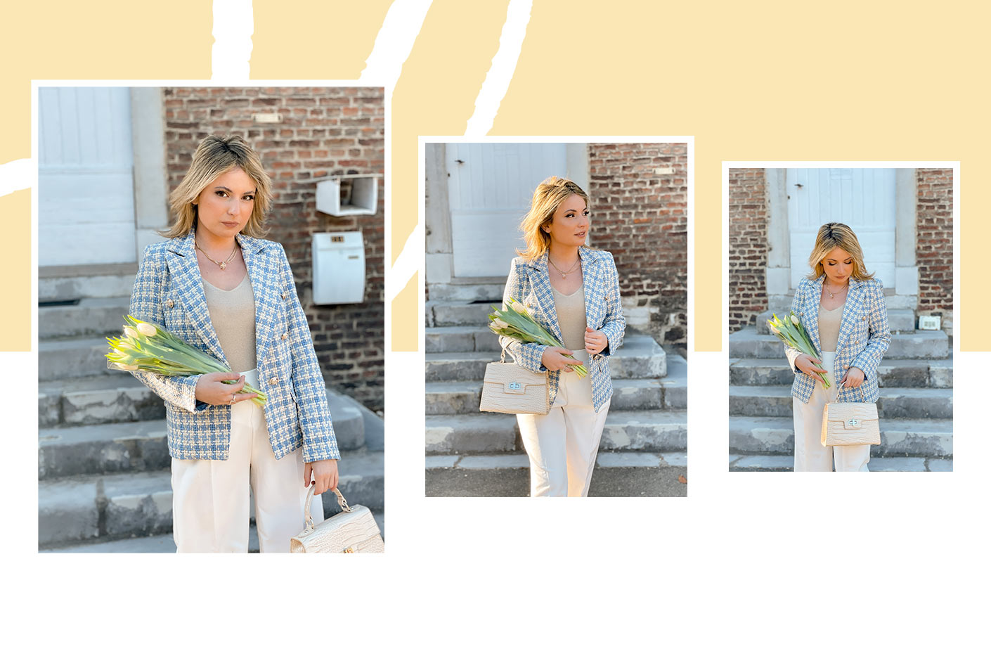 Alexa posing and smiling wearing our blue tweed blazer and a sleeveless lurex tank top with a white loose trousers with shiny buttons. Her outfit is accessorized with a small bag with crocodile pattern.