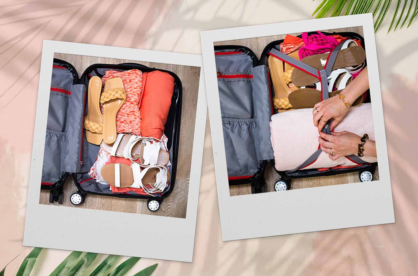 open suitcase with lolaliza items. 2 looks with a maxi skirt and a tank tok. Easy to style with white sandals or yellow mules.