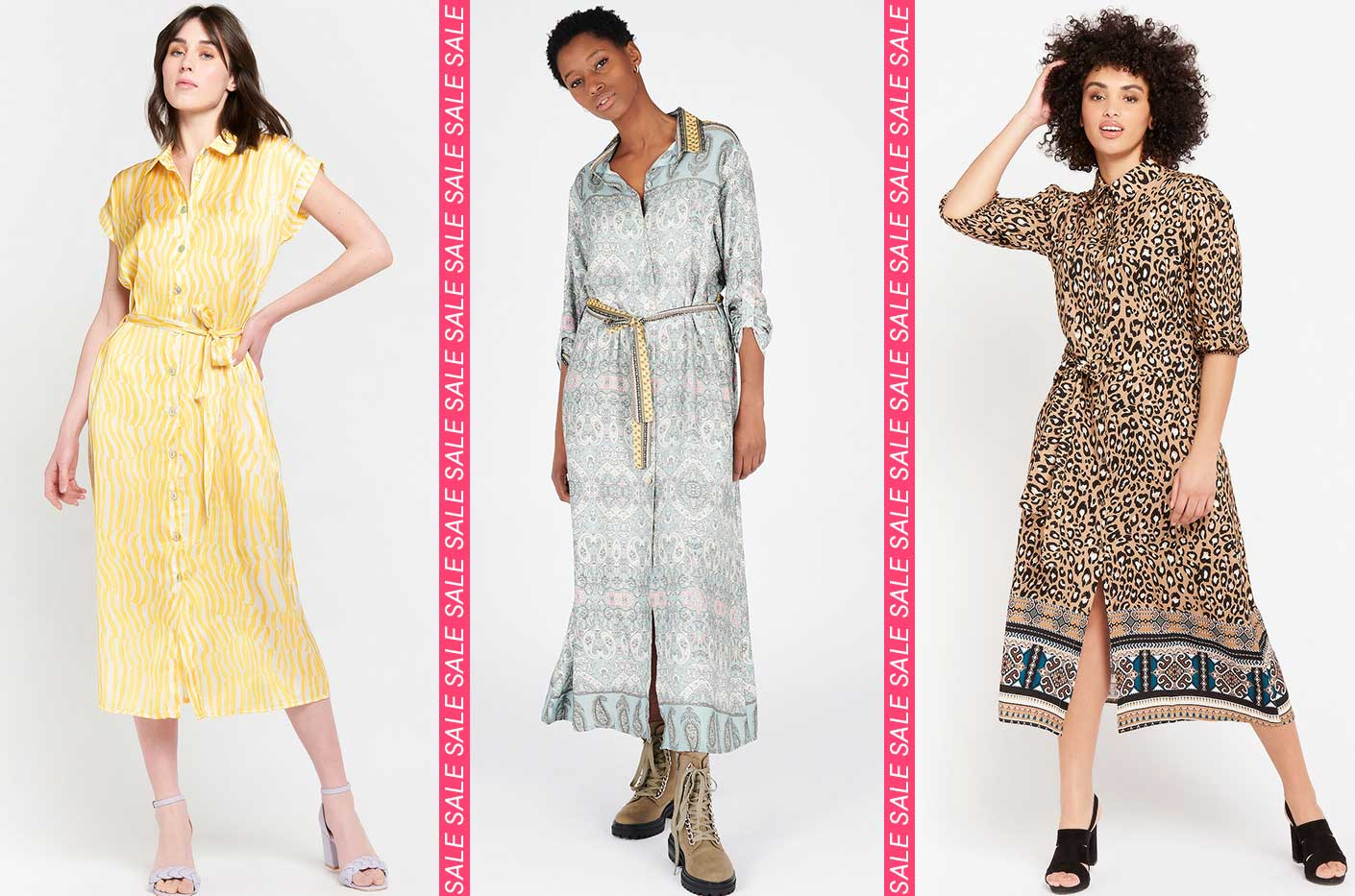 shirt dress with animal print in yellow. Maxi-shirt dress with fine print in almond green color. Leopard print shirt dress in caramel coffee color