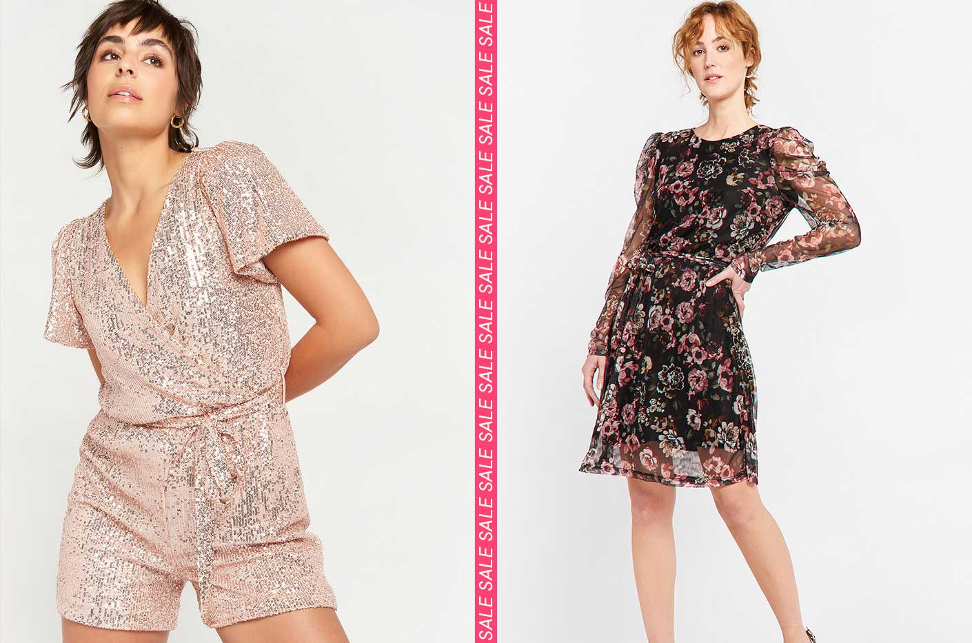 Playsuit with glitter sequins in nude pink color. long sleeve fishnet dress with flower print.