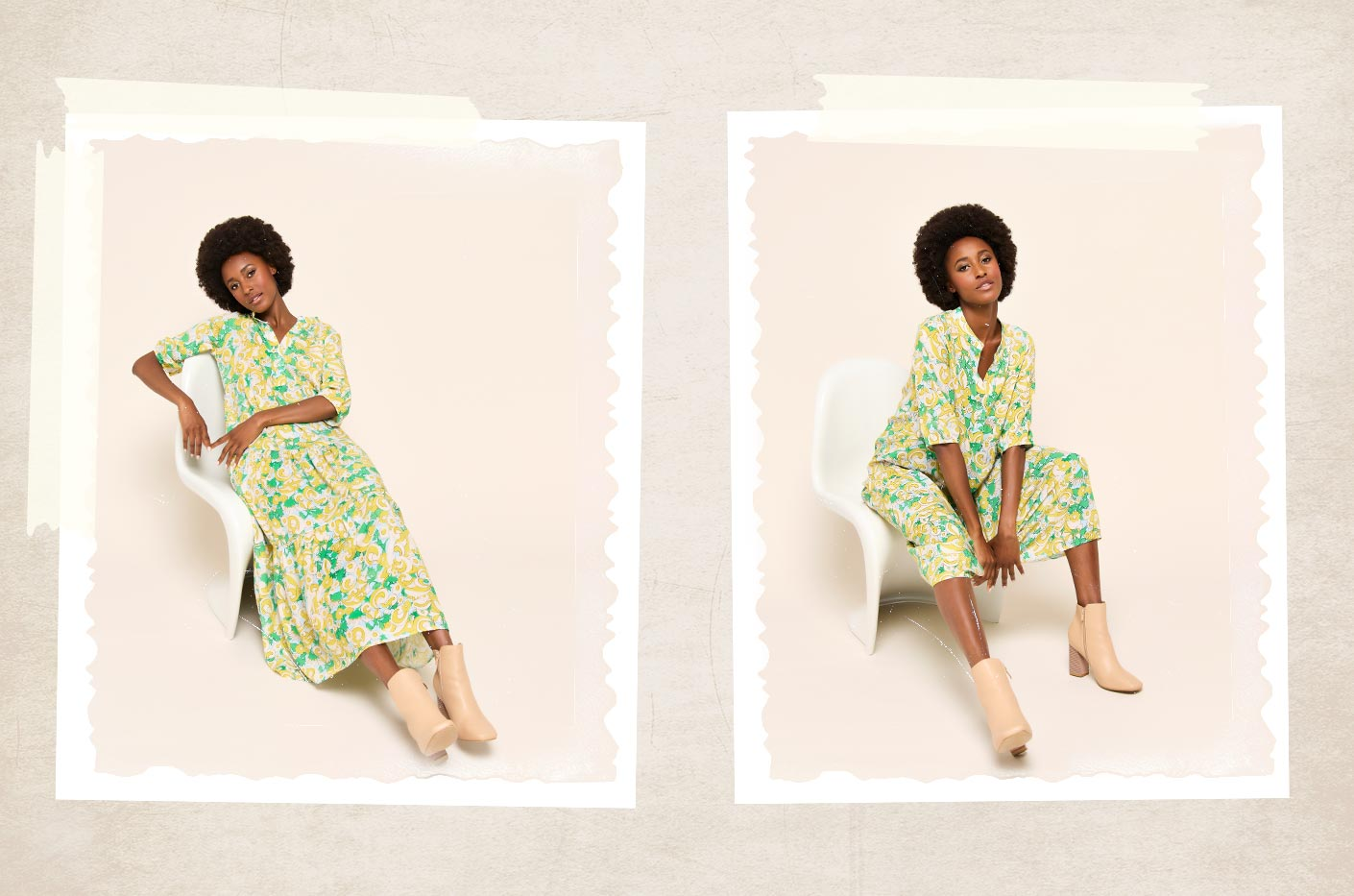 Yellow and green maxi dress in retro flower print and three quarter length sleeves style with nude ankle boots.