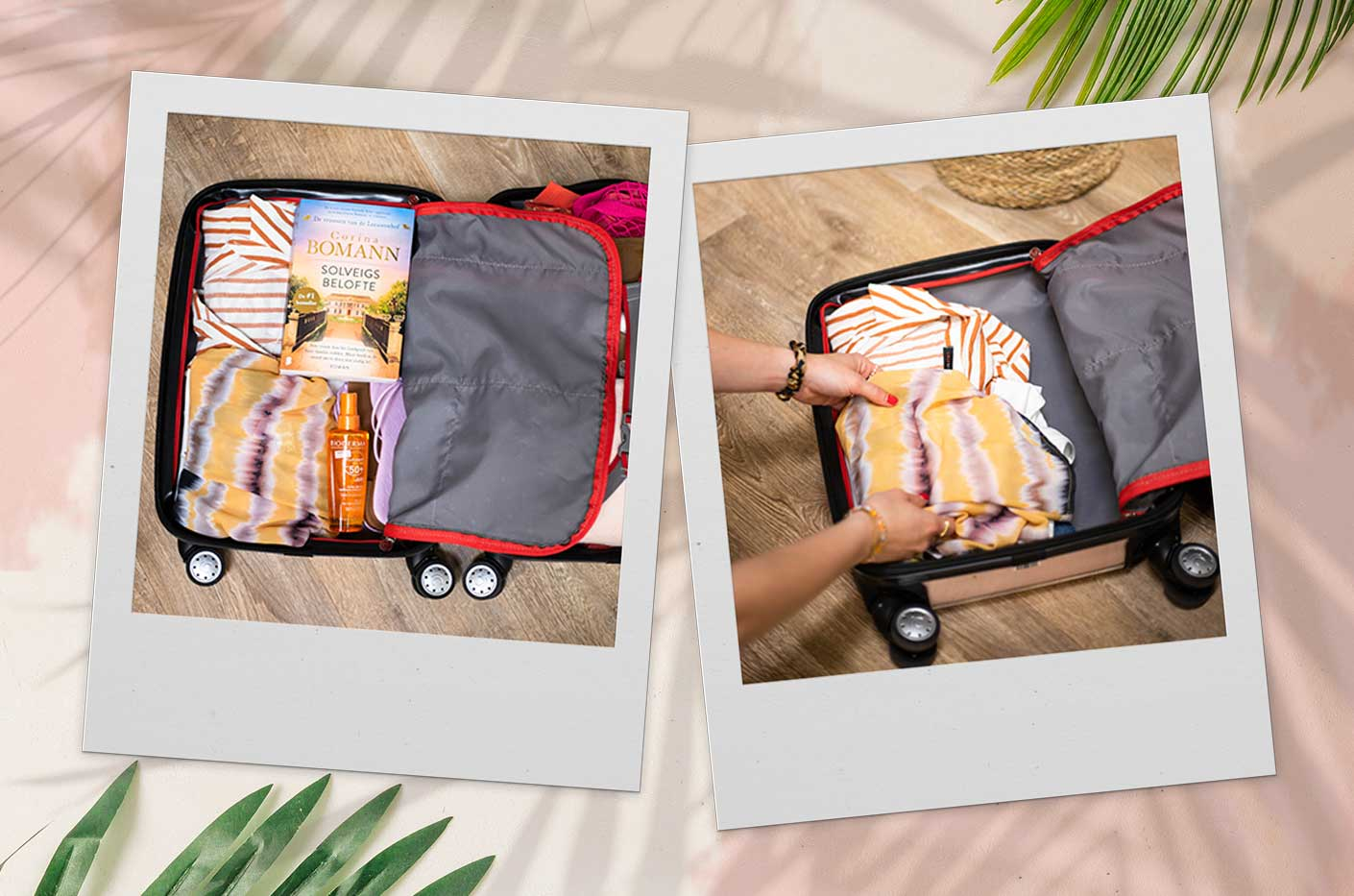 Open suitcase with LolaLiza items. A yellow tie dye kimono and a striped orange dress. Essentials like a book, sunscreen and purple slippers.