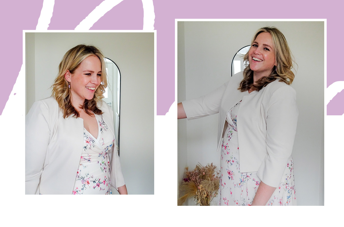 Margo smiling wearing a long LolaLiza dress with small floral print and beige short blazer without buttons.