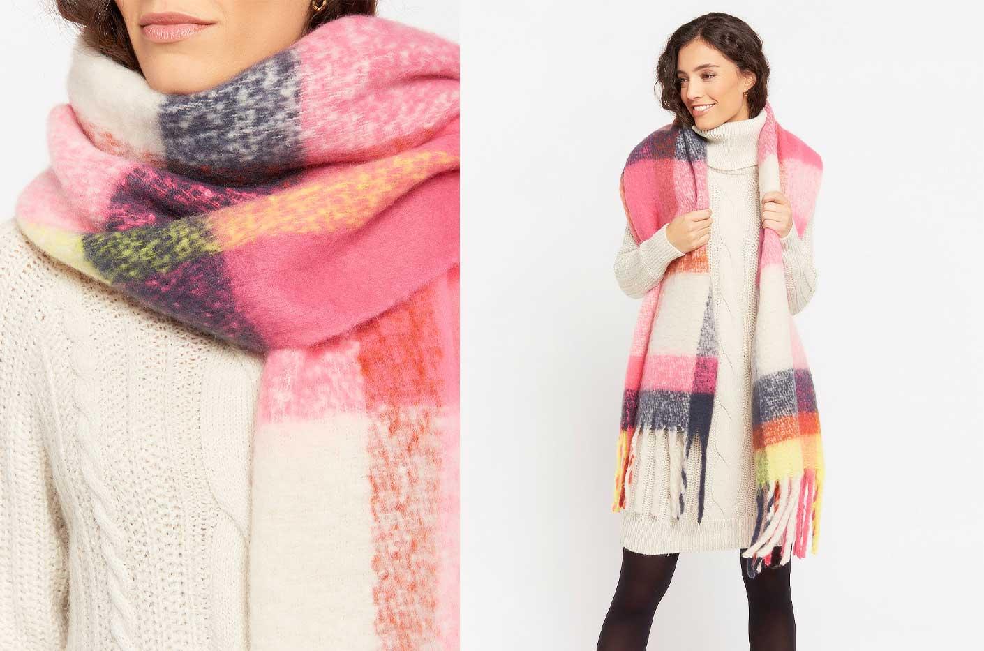 Zachte brede sjaal met ruiten lolaliza