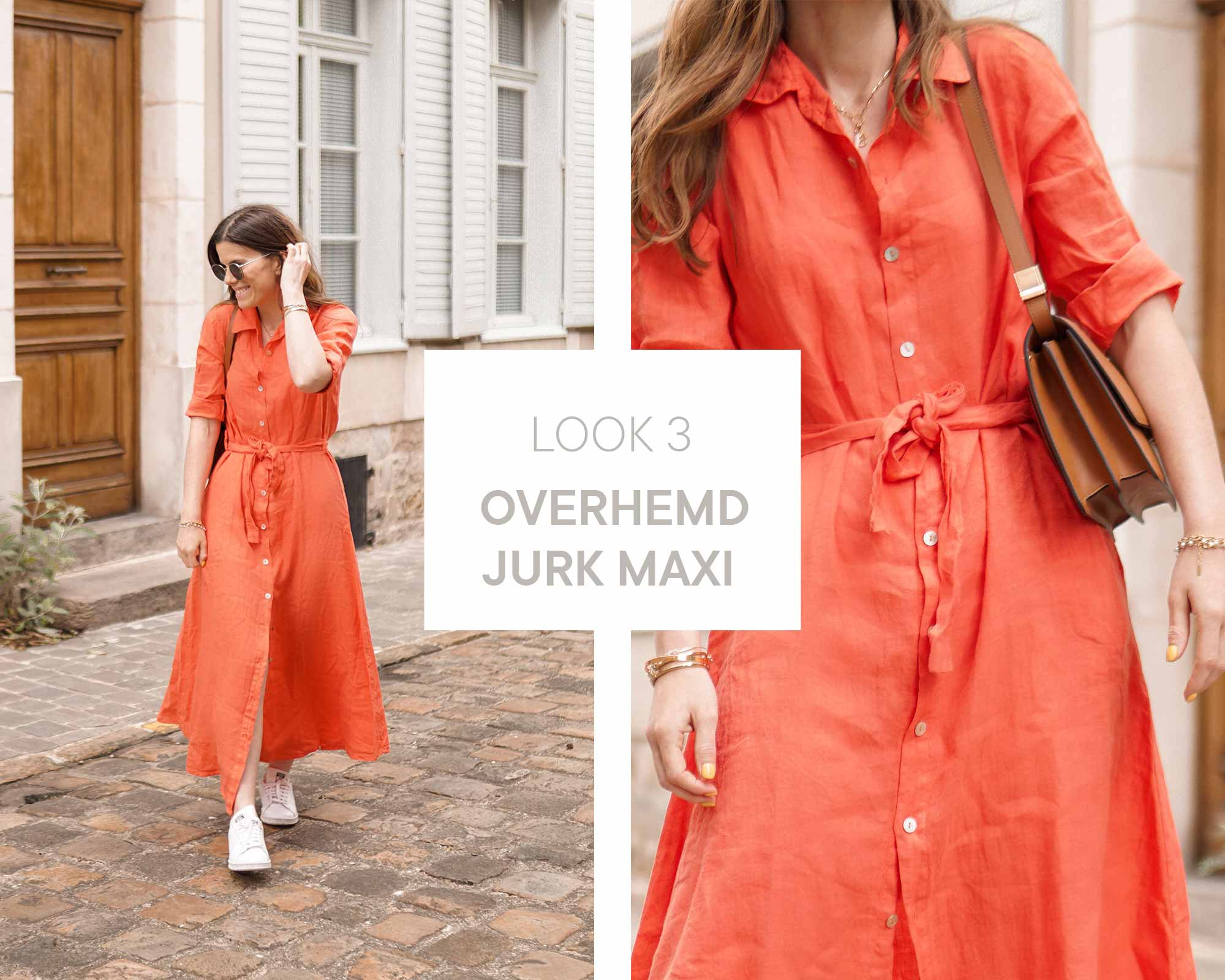 Alexia wearing a coral linen maxi dress with retro sunglasses in the streets of paris.