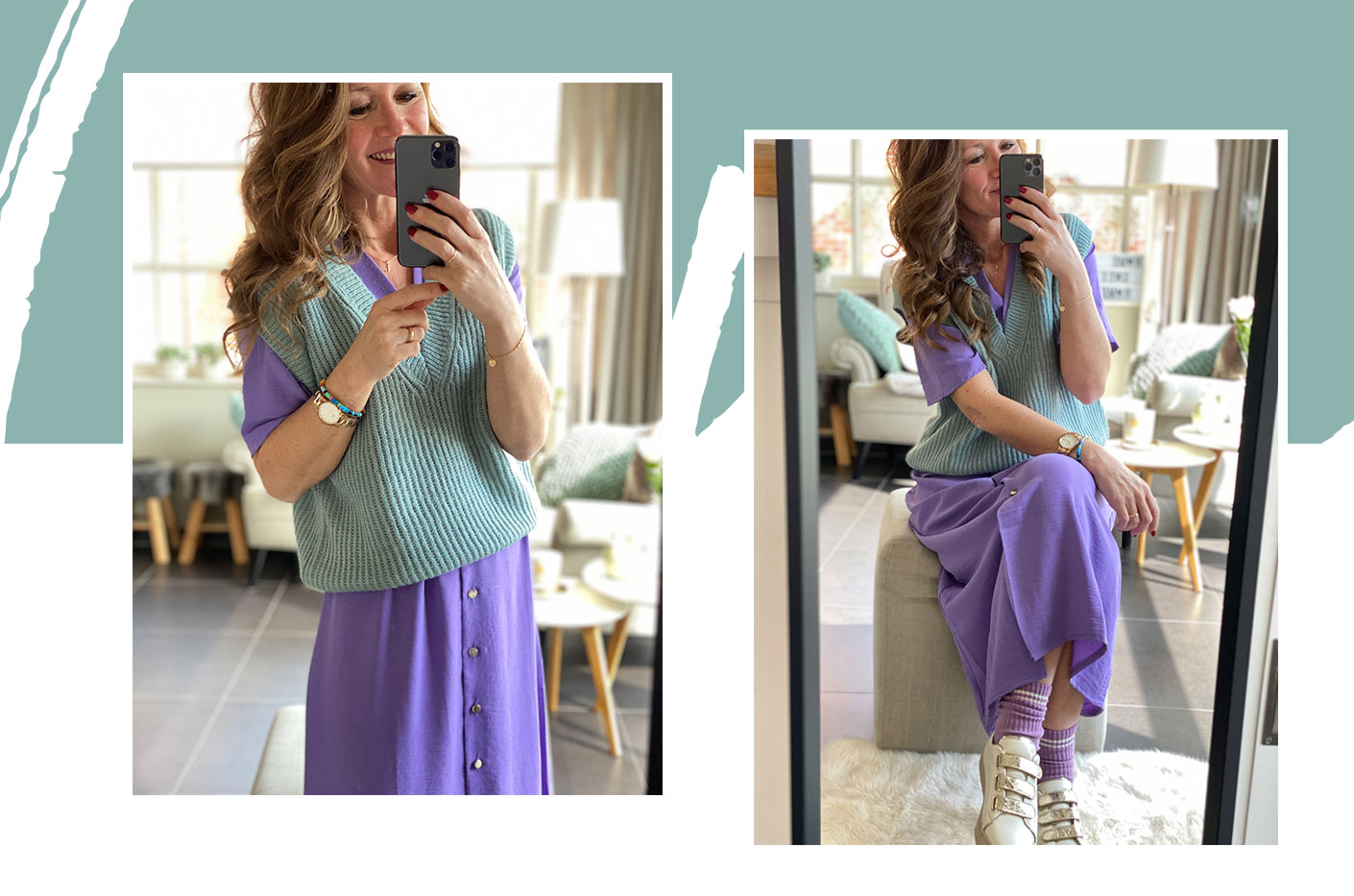 Mirror selfie of Lena smiling wearing a LolaLiza lila long tailored dress with V-neck with an almond green knitted tank top.