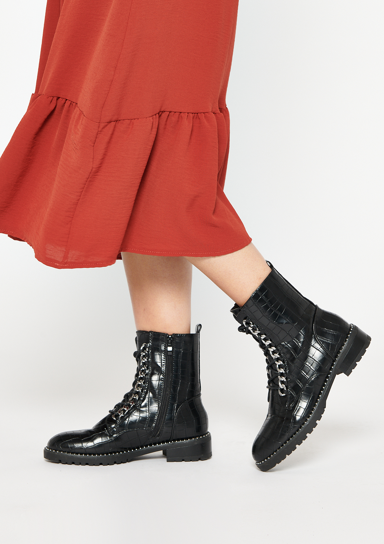 Bottines motardes en croco brillant - BLACK - 13100074_1119