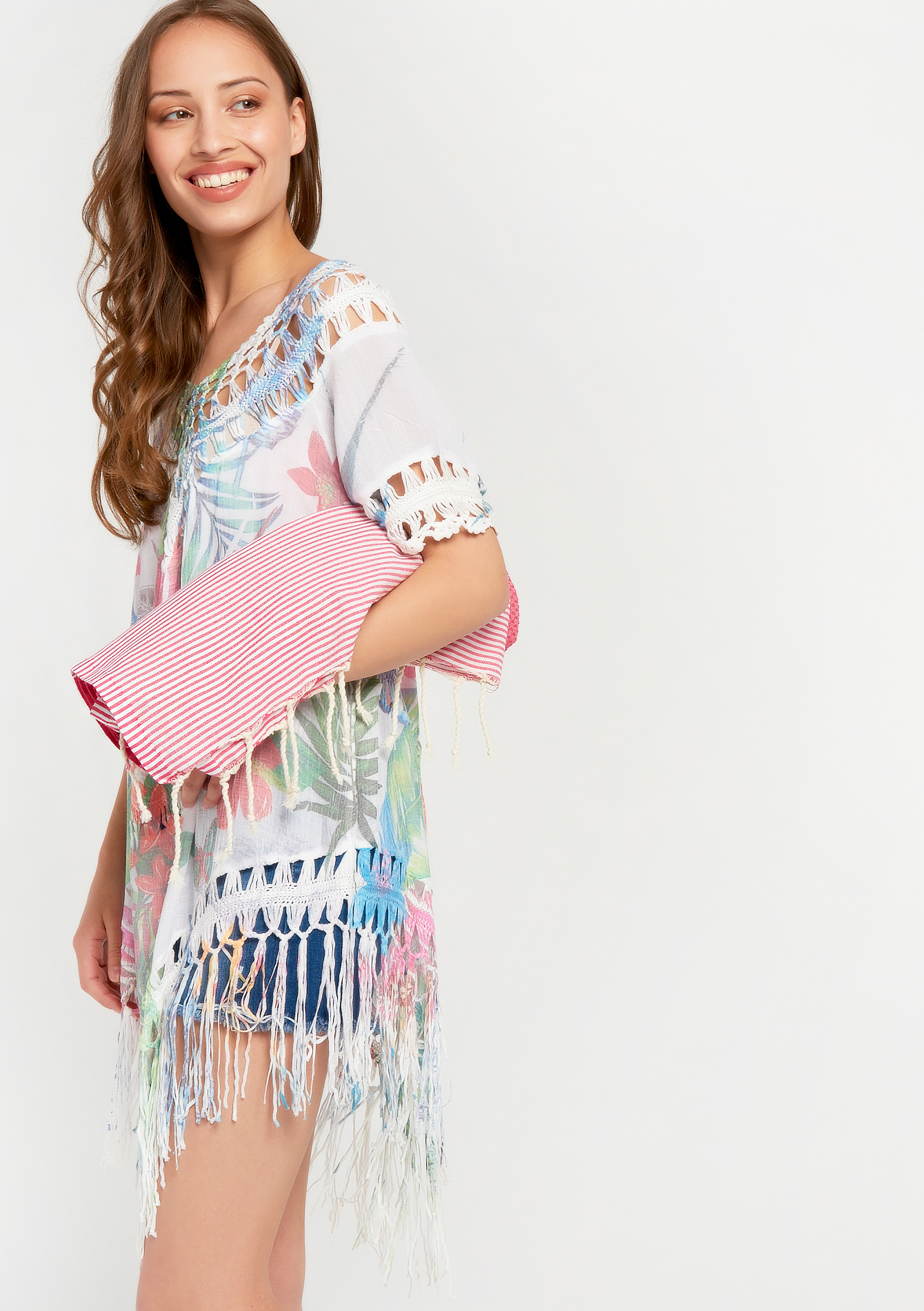 Beach plaid with fringe - PINK HONEYSUCKLE - 952818