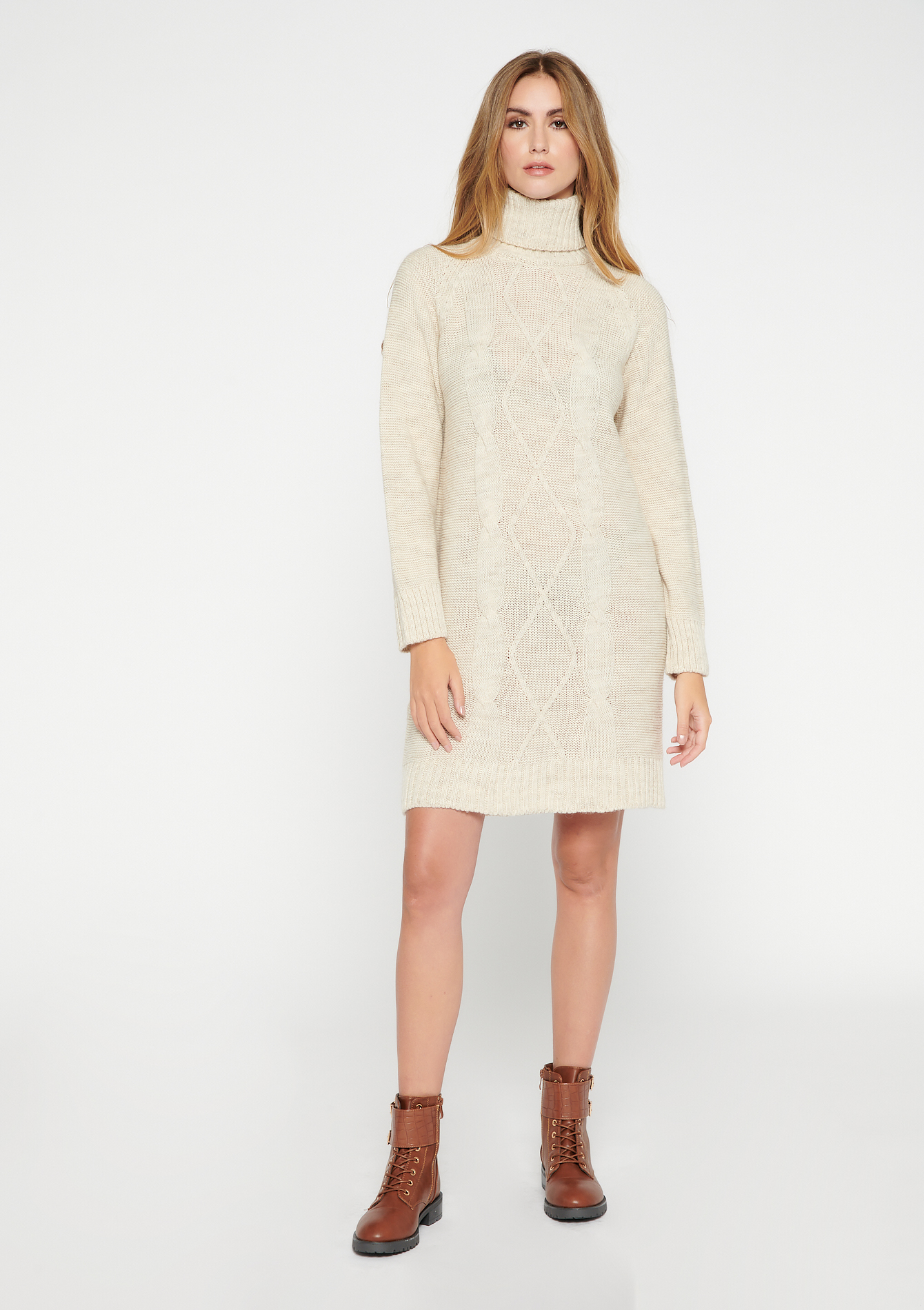 Robe mini en tricot à col roulé - LIGHT BEIGE MEL - 08102395_1003