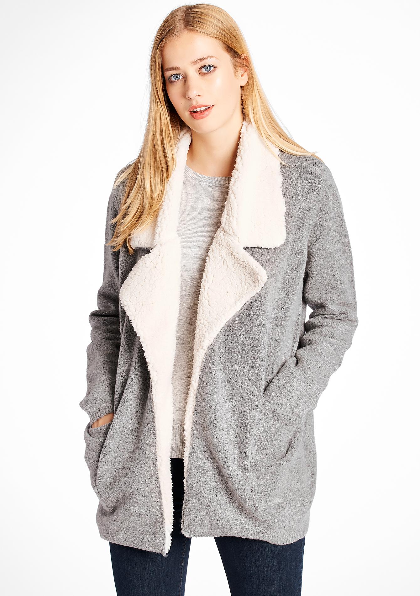 Plain fleece cardigan with pockets - LOLALIZA