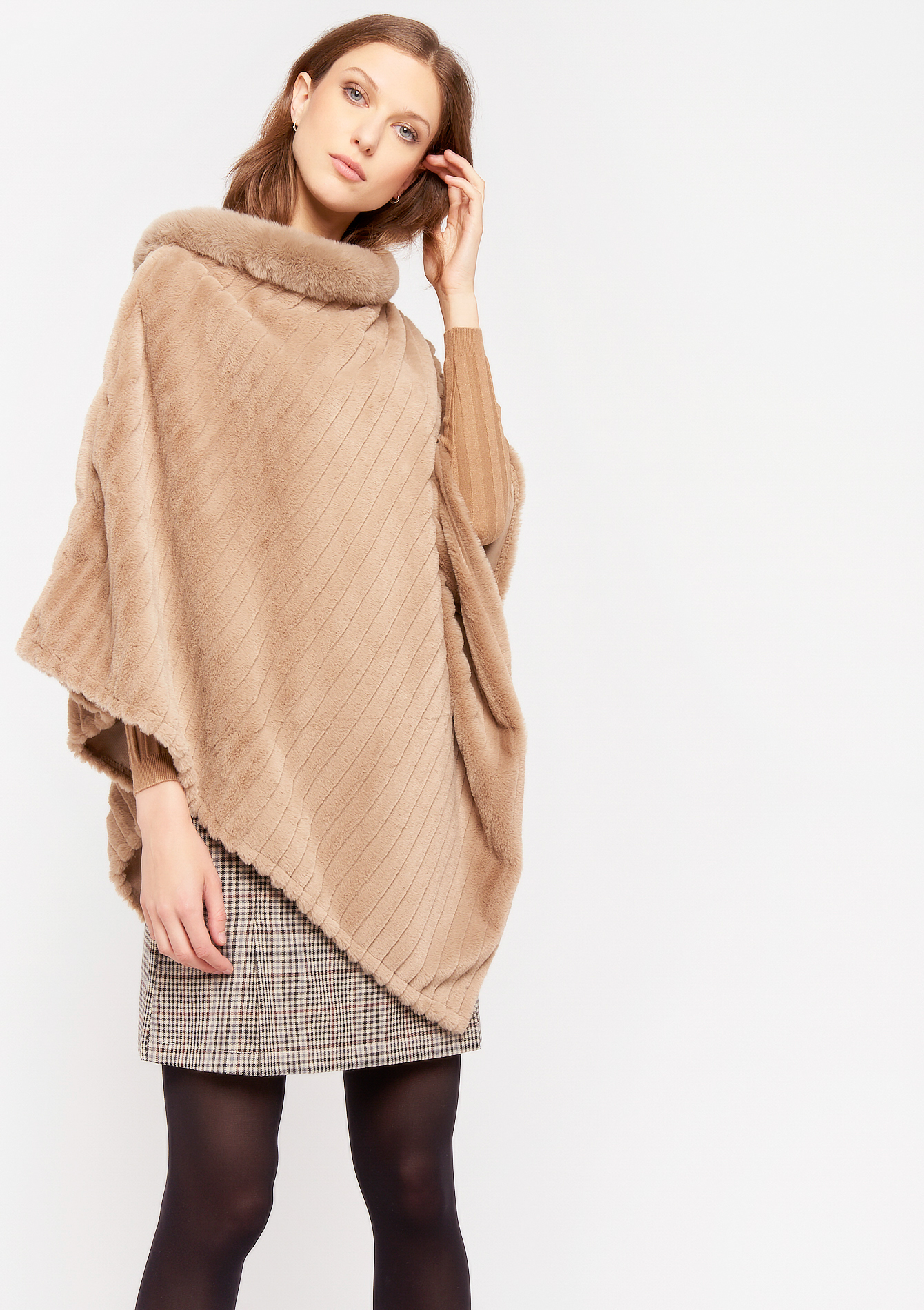 Poncho fausse fourrure - NATURAL BEIGE - 976436