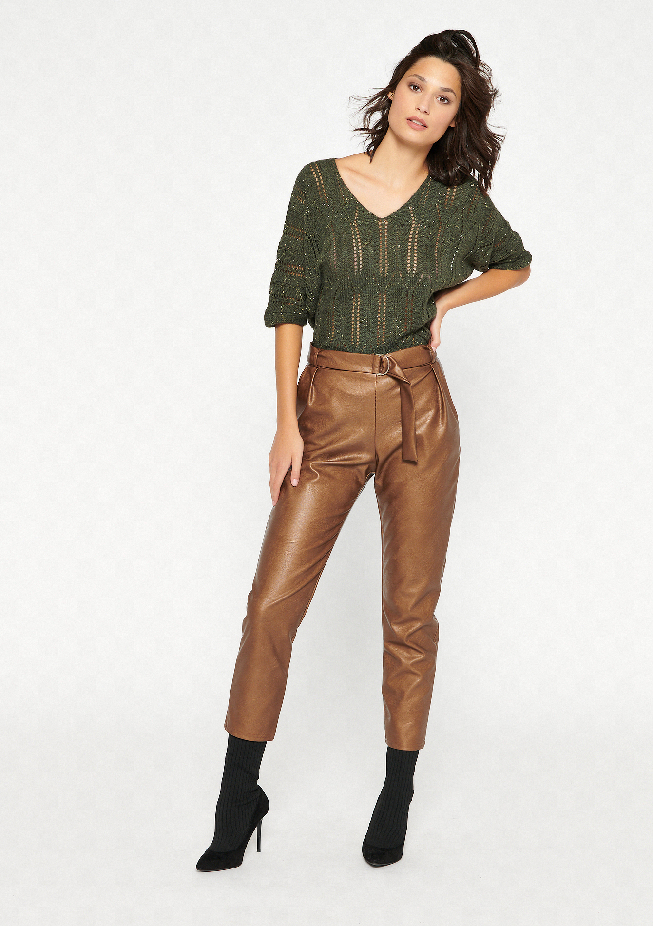 Trousers with belt and buckle - CARAMEL - 06600388_1953