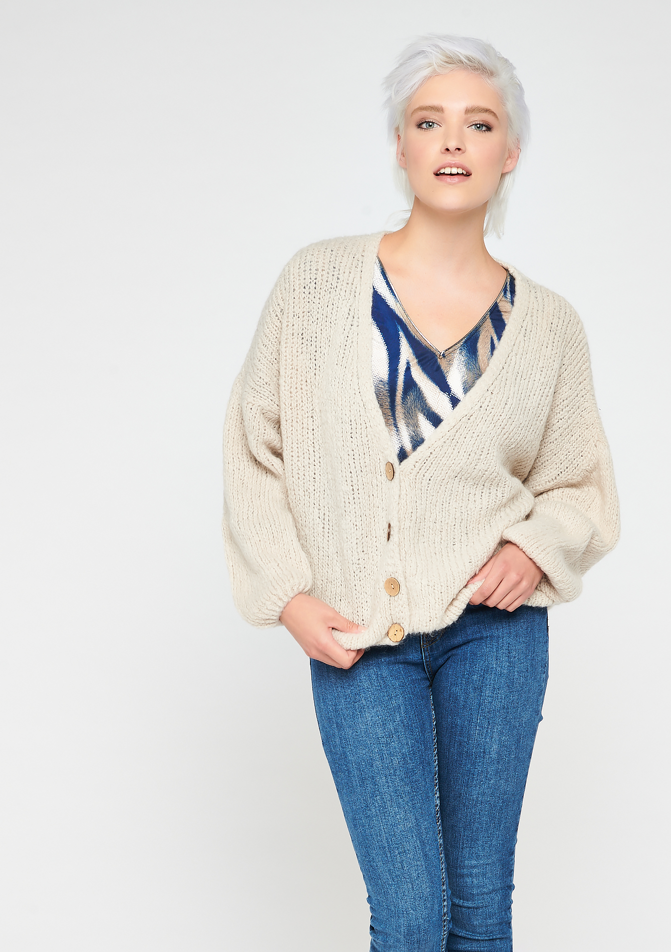 Cardigan - BEIGE BIRCH - 04100684_1929