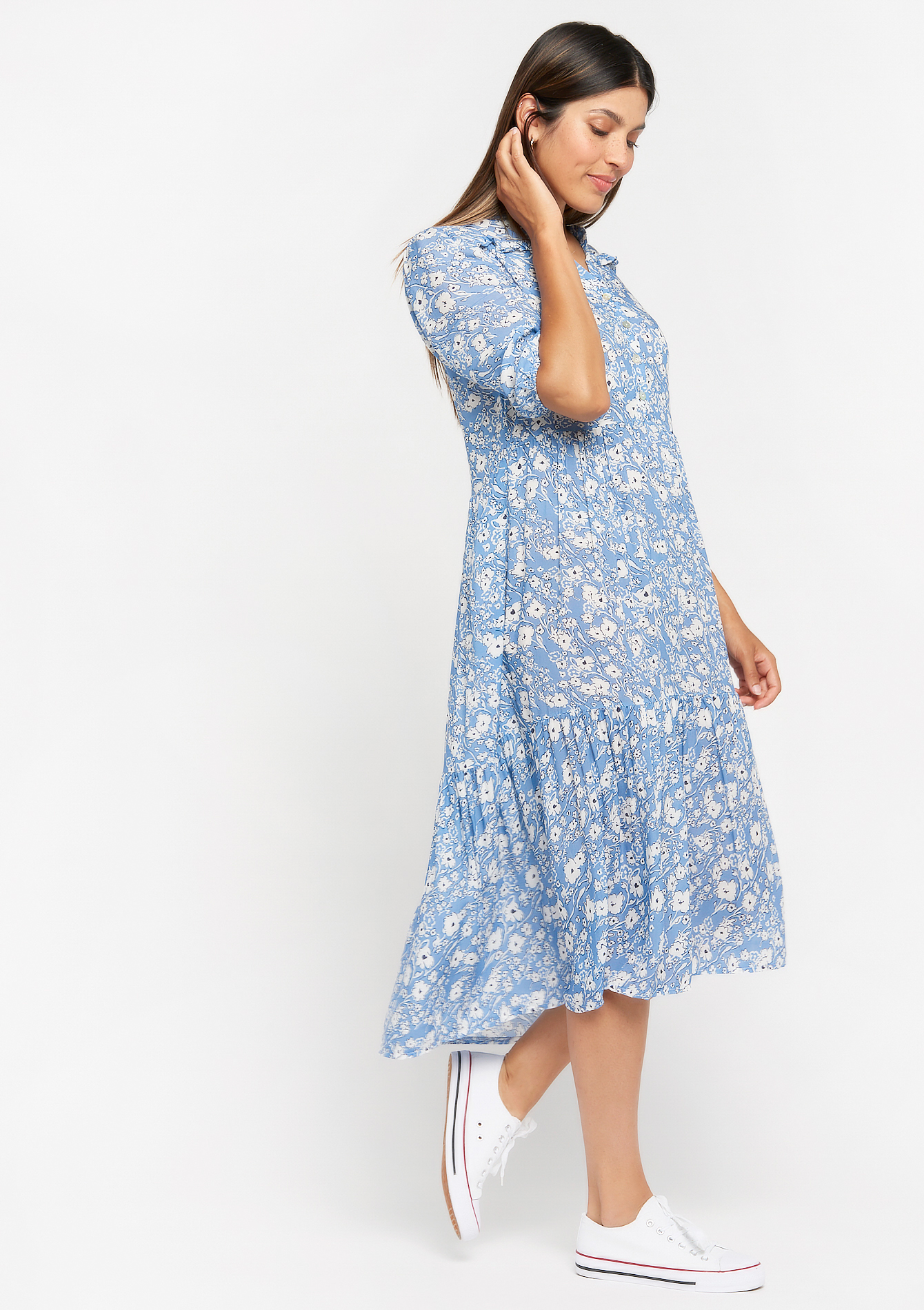 Maxi jurk met bloemenprint - LIGHT BLUE - 08102260_1709