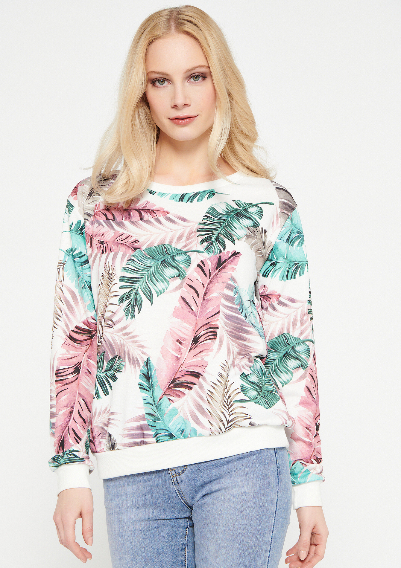 Sweater with tropical print - NATURAL WHITE - 03001523_2510