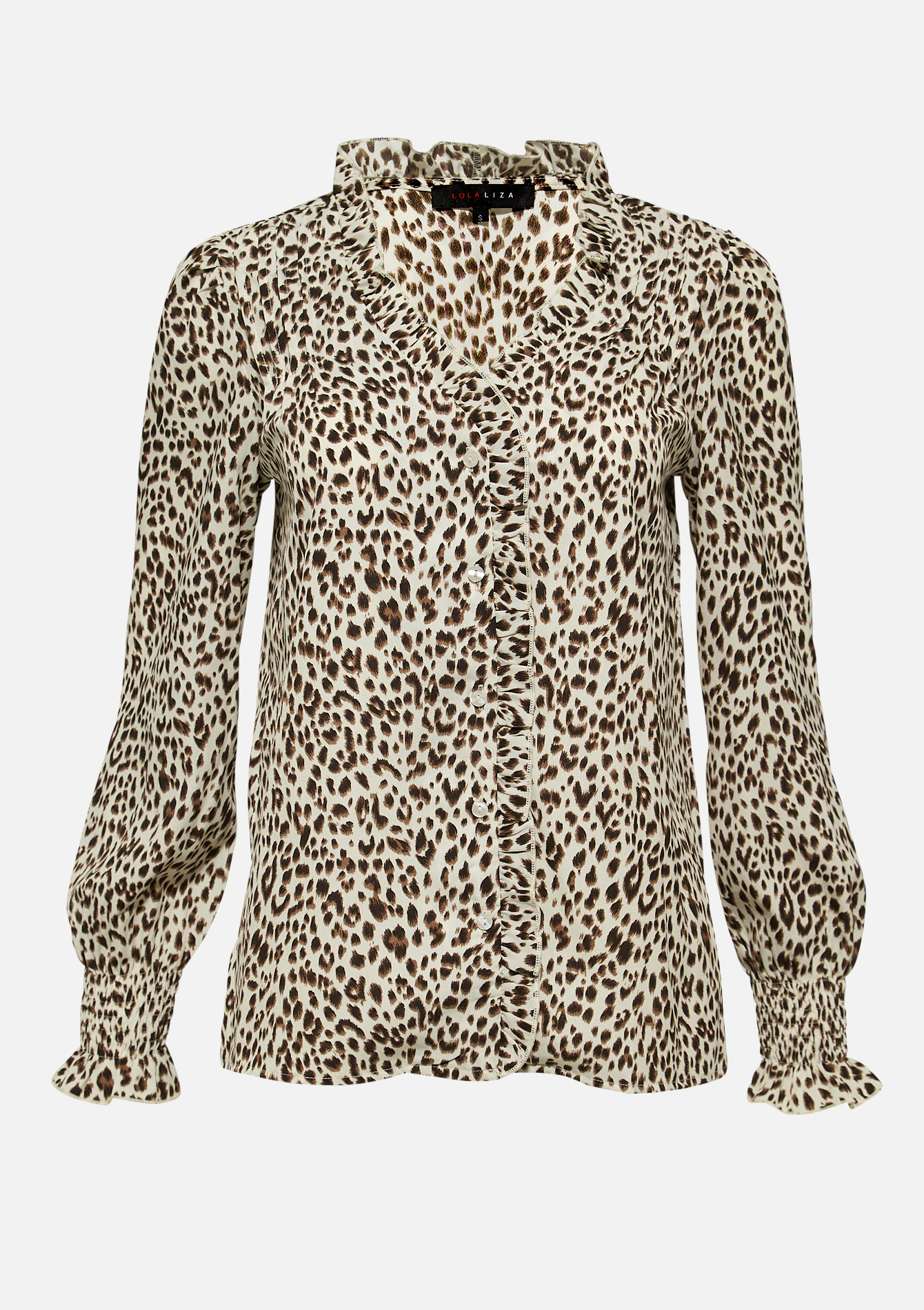 Blouse with ruffles and leopard print - OFFWHITE - 05701553_1001