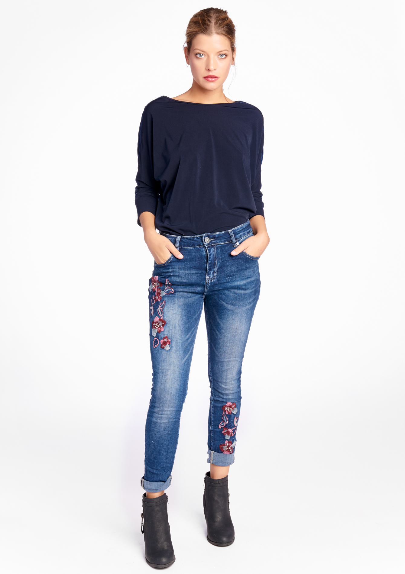 jeans avec broderie lolaliza. Black Bedroom Furniture Sets. Home Design Ideas
